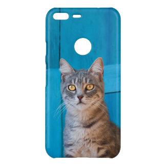 Cute Tabby Cat Kitten - Blue Wooden - Photo . Uncommon Google Pixel XL Case