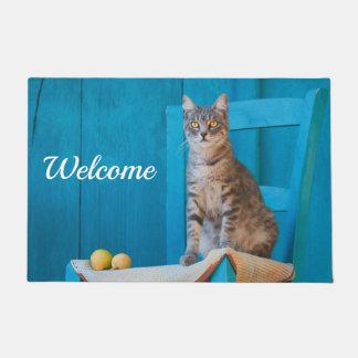 Cute Tabby Cat Kitten on Blue Wooden Chair Welcome Doormat