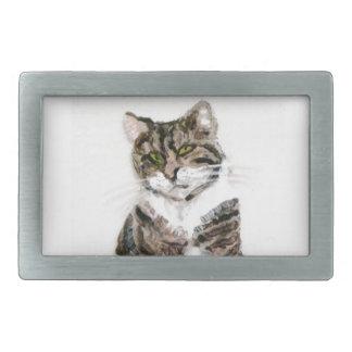 Cute Tabby Cat Rectangular Belt Buckles