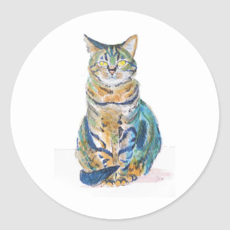 Cute Tabby Cat Round Sticker