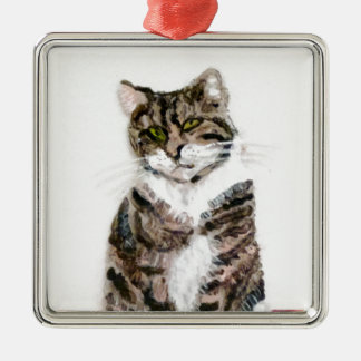 Cute Tabby Cat Silver-Colored Square Decoration