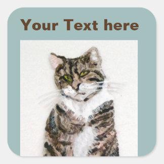 Cute Tabby Cat Square Sticker