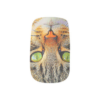 Cute Tabby Cat with Green Eyes Minx Nail Art