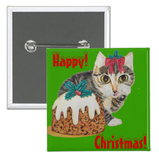 cute tabby kitten and christmas pudding button