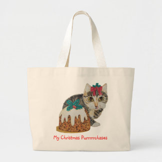 cute tabby kitten and Christmas pudding cat Canvas Bags