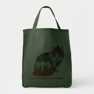 cute tabby kitten and Christmas pudding cat Bags