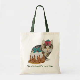 cute tabby kitten and Christmas pudding cat Budget Tote Bag