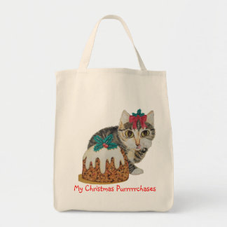 cute tabby kitten and Christmas pudding cat Grocery Tote Bag