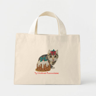 cute tabby kitten and Christmas pudding cat Mini Tote Bag