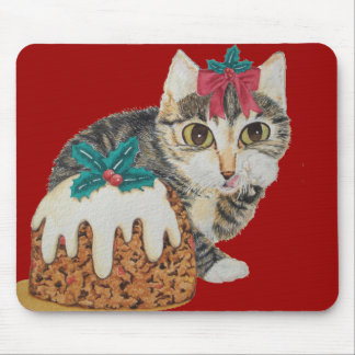 cute tabby kitten and Christmas pudding mouse mat