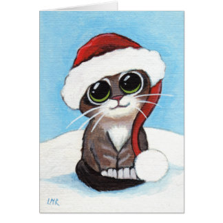 Cute Tabby Kitten Wearing Santa Hat Christmas Card
