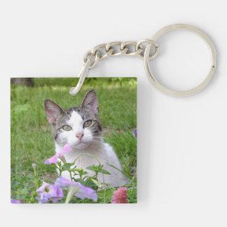 Cute Tabby & White Kitten in the Flowers KeyChain