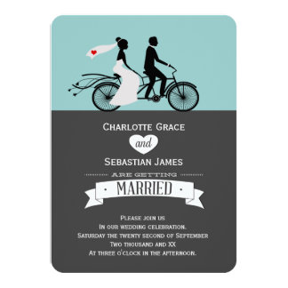 Cute Tandem Bike Bride And Groom Wedding 11 Cm X 16 Cm Invitation Card