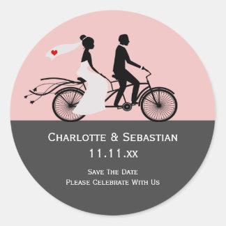 Cute Tandem Bike Bride And Groom Wedding Classic Round Sticker