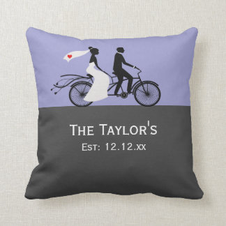 Cute Tandem Bike Bride And Groom Wedding Cushion
