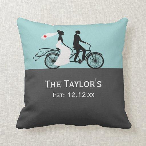 Cute Tandem Bike Bride And Groom Wedding Pillow