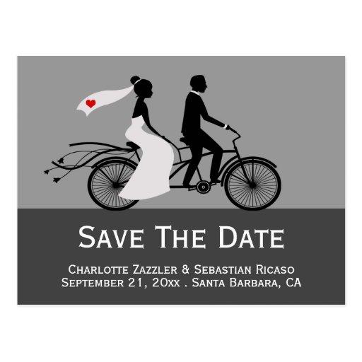 Cute Tandem Bike Bride And Groom Wedding Postcards