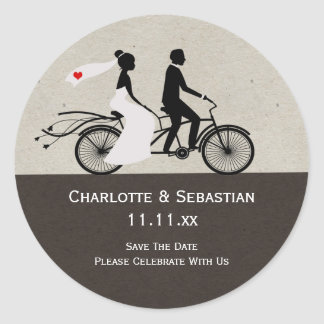 Cute Tandem Bike Bride And Groom Wedding Round Sticker