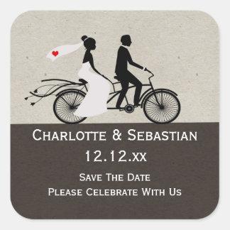 Cute Tandem Bike Bride And Groom Wedding Square Sticker