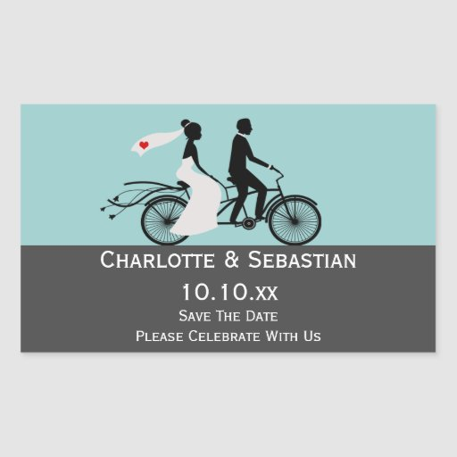 Cute Tandem Bike Bride And Groom Wedding Rectangle Sticker
