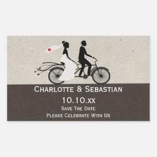 Cute Tandem Bike Bride And Groom Wedding Rectangular Sticker