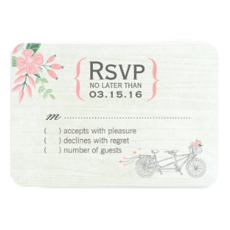 Cute Tandem Bike RSVP Cards 9 Cm X 13 Cm Invitation Card