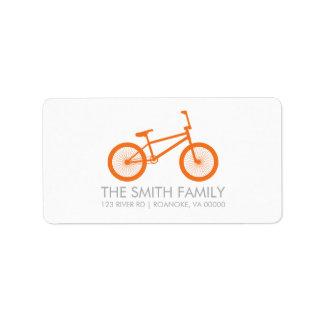 Cute Tangerine Bicycle Address Label