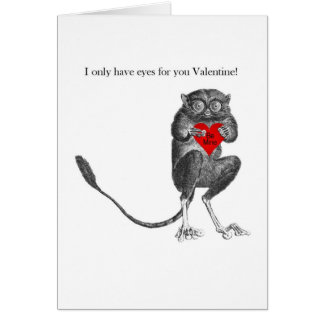 Cute Tarsier Bush Baby Valentine Card
