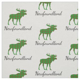 Cute Tartan moose Newfoundland fabric