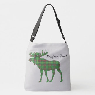 Cute Tartan moose Newfoundland travel shoulder Bag