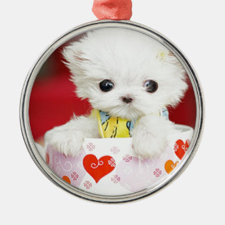 cute tea cup puppy Silver-Colored round decoration