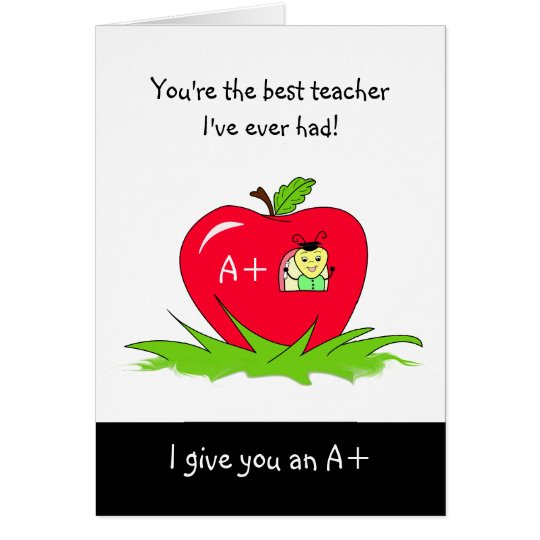 Cute Teacher Appreciation Day Apple For Teacher Card