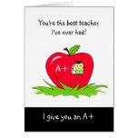 Cute Teacher Appreciation Day Apple For Teacher Greeting Card