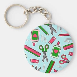 Cute Teacher Love School Print Basic Round Button Key Ring
