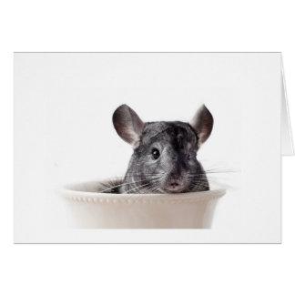 Cute Teacup Chinchilla Grey Greeting Card