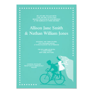 CUTE Teal Bicycle Couple Wedding Invitation