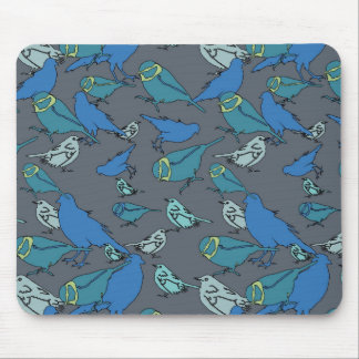 Cute teal blue and grey Spring birds pattern Mouse Pad