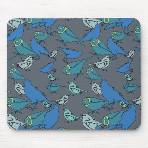 Cute teal, blue and grey Spring birds pattern. Mouse Pad