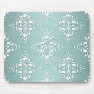 Cute Teal Blue and white Damask Mouse Pad