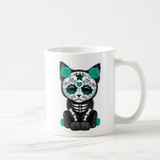 Cute Teal Blue Day of the Dead Kitten Cat Coffee Mug