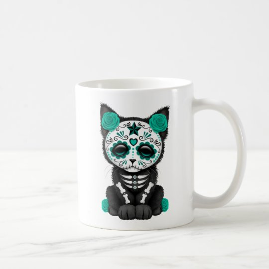Cute Teal Blue Day of the Dead Kitten