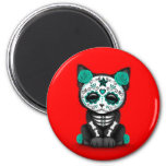 Cute Teal Blue Day of the Dead Kitten Cat, red Refrigerator Magnets