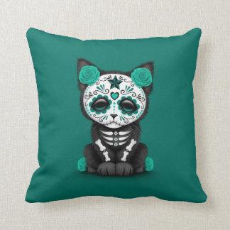 Cute Teal Blue Day of the Dead Kitten Cat Throw Pillow