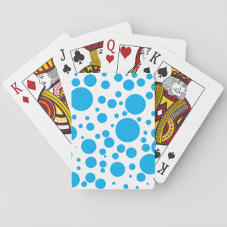 Cute Teal Blue Polka Dots Circles Pattern Playing Cards