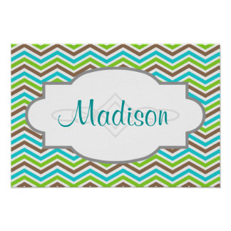 Cute Teal, Brown, and Green Chevron Stripes Poster