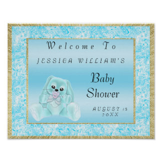 Cute Teal Bunny Welcome Poster