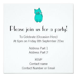 Cute Teal Cat. 5.25x5.25 Square Paper Invitation Card