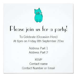 Cute Teal Cat. 13 Cm X 13 Cm Square Invitation Card