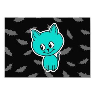 Cute Teal Cat with Bats. 9 Cm X 13 Cm Invitation Card