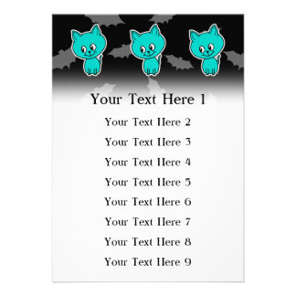 Cute Teal Cat with Bats Custom Invitations